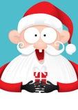Szczęśliwy Święty Mikołaj z prezenta wektoru kreskówką ilustracja wektor
