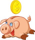 Szczęśliwy Świniowaty prosiątko bank Zdjęcia Stock