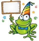 szczęśliwy żaby przyjęcie z signboard Obrazy Royalty Free
