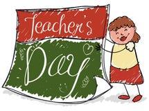 Szczęśliwy Żeński pedagog Trzyma Kalendarzowego papier dla nauczyciela ` dnia, Wektorowa ilustracja ilustracja wektor