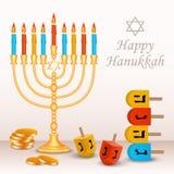 Szczęśliwy żydowski Hanukkah pojęcia tło, realistyczny styl ilustracja wektor