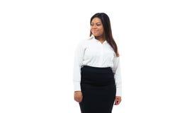Szczęśliwy afro amerykański bizneswoman patrzeje daleko od Obraz Stock