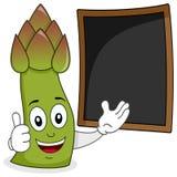 Szczęśliwy asparagus z menu Blackboard Fotografia Royalty Free