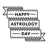 Szczęśliwy astrologia dnia powitania emblemat royalty ilustracja