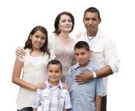 Szczęśliwy Atrakcyjny Latynoski Rodzinny portret na bielu zdjęcie stock