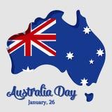 Szczęśliwy Australia dnia kartka z pozdrowieniami z mapą i flaga w papierowej sztuce i rzemiośle projektujemy również zwrócić cor ilustracji