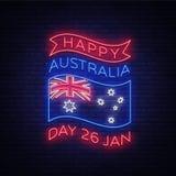 Szczęśliwy Australia dzień na Stycznia 26 świątecznym tle z flaga w neonowym stylu Neonowy znak, faborek z krajowymi kolorami ilustracja wektor