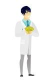 Szczęśliwy azjata lekarki mienia pieniądze royalty ilustracja