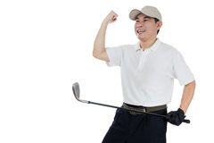 Szczęśliwy Azjatycki Chiński Męski golfista pokazuje zwycięstwo gest zdjęcie royalty free