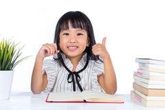 Szczęśliwy Azjatycki Chiński małego biura damy czytanie z aprobatami Zdjęcia Royalty Free