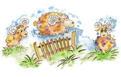 Szczęśliwy barani doskakiwanie nad ogrodzeniem ilustracja wektor