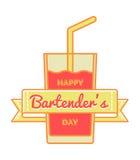 Szczęśliwy barmanu dnia powitania emblemat Zdjęcie Stock
