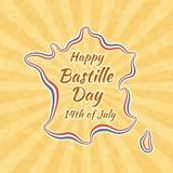 Szczęśliwy Bastille dzień i 14th Lipiec ilustracji