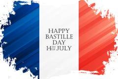 Szczęśliwy Bastille dzień, 14th Lipa wakacje świętują sztandar z flaga państowowa Francja muśnięcia uderzenia tło Zdjęcia Stock