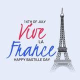 Szczęśliwy Bastille dzień 14th Lipiec ilustracja wektor