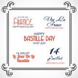Szczęśliwy Bastille dzień 14th Lipiec royalty ilustracja