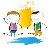 szczęśliwy bawić się dzieciaków Zdjęcia Stock
