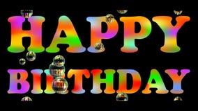 Szczęśliwy birhtday sztandar z kolorowym tęcza nagłówkiem i spławowymi mydlanymi bąblami na czarnym tle Reklamować dla prezenta s royalty ilustracja