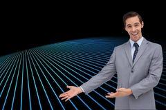Szczęśliwy biznesmen daje prezentaci z jego rękom Obrazy Stock