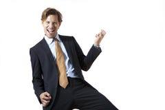 Szczęśliwy biznesmen kołysa mnie Fotografia Stock