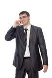 Szczęśliwy biznesmen opowiada na telefonie Obrazy Stock