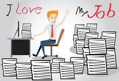 Szczęśliwy biznesmen. pracownik z rozsypiskiem papierkowa robota royalty ilustracja