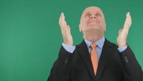 Szczęśliwy biznesmen Robi zwycięstwo ręki gestom Z rękami W górę obrazy royalty free