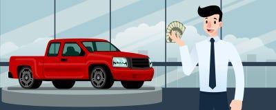 Szczęśliwy biznesmen, sprzedawcy stojak i mienie pieniądze przed luksusowym samochodem, ten parking w wielkiej sala wystawowej w  zdjęcie royalty free