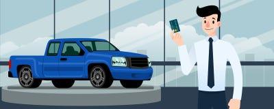 Szczęśliwy biznesmen, sprzedawcy stojak i trzymać kredytową kartę przed błękitną furgonetką, ten parking w wielkiej sala wystawow obrazy stock