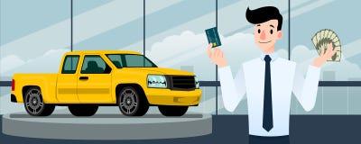 Szczęśliwy biznesmen, sprzedawcy stojak i trzymać kredytową kartę przed błękitną furgonetką, ten parking w wielkiej sala wystawow obraz stock