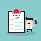 Szczęśliwy biznesmen z listą kontrolną Pomyślną Fotografia Stock