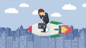 Szczęśliwy biznesmena latanie na rakiecie przez budynków Biznesowy rozpoczęcie, skok i przedsiębiorczości pojęcie, Pętli animacji royalty ilustracja
