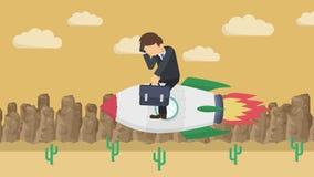 Szczęśliwy biznesmena latanie na rakiecie przez ciemnego pustkowia Biznesowy rozpoczęcie, skok i przedsiębiorczości pojęcie, Pętl ilustracja wektor