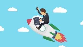 Szczęśliwy biznesmena latanie na rakiecie przez niebieskiego nieba Biznesowy rozpoczęcie, skok i przedsiębiorczości pojęcie, Pętl royalty ilustracja