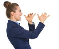 Szczęśliwy biznesowej kobiety dokuczać obrazy stock