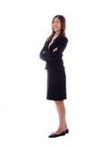 Szczęśliwy bizneswoman jest uśmiechnięty i główkowanie na białym tle Zdjęcie Stock