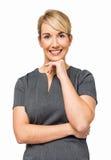 Szczęśliwy bizneswoman Z ręką Na podbródku Obraz Stock