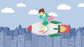 Szczęśliwy bizneswomanu latanie na rakiecie przez budynków Biznesowy rozpoczęcie, skok i przedsiębiorczości pojęcie, Pętli animac ilustracji