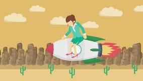 Szczęśliwy bizneswomanu latanie na rakiecie przez ciemnego pustkowia Biznesowy rozpoczęcie, skok i przedsiębiorczości pojęcie, Pę ilustracja wektor