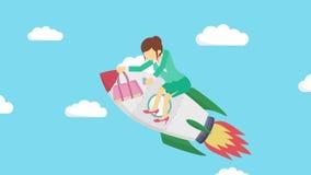 Szczęśliwy bizneswomanu latanie na rakiecie przez niebieskiego nieba Biznesowy rozpoczęcie, skok i przedsiębiorczości pojęcie, Pę ilustracja wektor