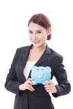 Szczęśliwy bizneswomanu mienia prosiątka bank Obraz Stock