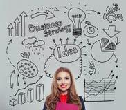 Szczęśliwy bizneswomanu planowanie Biznesowy pomysł i brainstorming obraz royalty free
