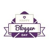 Szczęśliwy Blogger dnia powitania emblemat Fotografia Stock