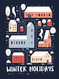 szczęśliwy Boże Narodzenie nowy rok Mapa zimy miasto z domami Europejska architektura z śnieżystymi drzewami i ilustracji