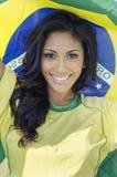 Szczęśliwy Brazylia piłki nożnej fan piłki nożnej Zdjęcia Stock