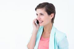 szczęśliwy brunetka telefon Obraz Stock
