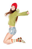 szczęśliwy brunetki doskakiwanie fotografia stock