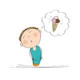 Szczęśliwy chłopiec główkowanie lody Zdjęcie Stock