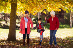 Szczęśliwy chłopiec odprowadzenie z matką i babcią zdjęcie royalty free