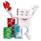 Szczęśliwy charakter z kasynowymi układami scalonymi Obrazy Royalty Free